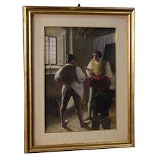 20th Century Italian Mixed-media Painting Interior Scene With Characters