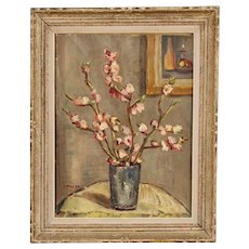 20th Century French Still Life Painting Oil On Cardboard