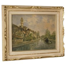 20th Century Italian Landscape Painting River View In Impressionist Style