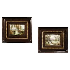 20th Century Pair Of French Signed Landscape Paintings On Limoges Ceramic