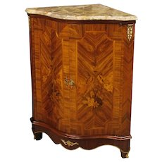 20th Century French Inlaid Corner Wooden Cupboard With Marble Top