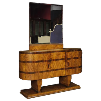 20th Century Italian Wooden Sideboard With Mirror In Art Deco Style