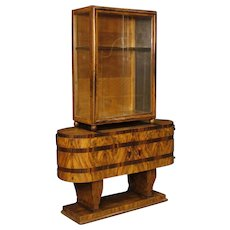 20th Century Italian Display Cabinet In Inlaid Wood In Art Deco Style