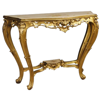 20th Century Italian Console In Lacquered, Gilded And Painted Wood