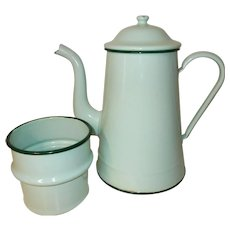 French Coffee Filter Pot. Fabulous French Green Enamel coffee Pot. Vintage French. darker rims