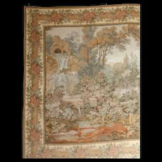 French Tapestry.  'The Watermill Garden' with Cherub Fountain. - Red Tag Sale Item