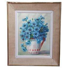 Framed French Oil Painting on Canvas. Cornflowers Still Life.  Signed Mid Century