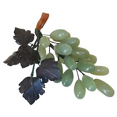 Vintage Grape Cluster, Semi Precious Stone, Jade grapes, Hand Carved Leaves, Bunch of Grapes,
