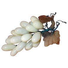 Vintage Grape Cluster, Semi Precious Stone Jade grapes, Hand Carved Leaves, Bunch of Grapes, Home Bar, Wine Collection