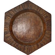 French Hand Carved Church Collection Plate. Bread Charger. Donnez nous aujoud'hui notre pain quotidien.