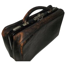 Black Leather Doctors Bag, Mid to Late 1800's Dr's Bag with Nickel Fastenings. Superb Worn Black Leather