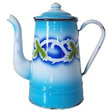 Vintage French Patterned Enamel Coffee Pot, Blue & White Enamel Graniteware