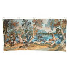 """French Tapestry Wall Hanging. 17th /18th Century Hunting Scene. 'The Deer Hunt' . 58 x 29"""" - Red Tag Sale Item"""