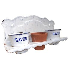 French Enamel Laundry Soap Pot Holder. Lavoir Washing Soap Rack. Herb Pots - Red Tag Sale Item