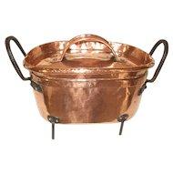 Large Ancient Copper Daubiere with legs Château Kitchen, Antique French Copper Confit Pan, Stock Pot, La braisière, Tin Lined