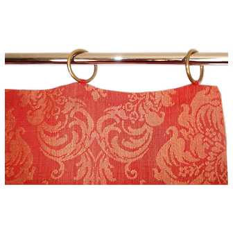 French Curtain with Brass Rings, Silk and Flax Linen Damask, Red and Gold