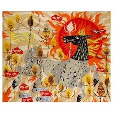 Jean-Louis Viard Designed Needlepoint, Chardons de Camargue. Vintage French Needlework with sewn signature. Jean Picart le doux