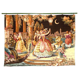 Large Vintage Tapestry Wall Hanging. Romance in the Venice Moonlight. Lovely Colours, Excellent condition. Ready to Hang