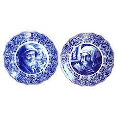 "Pair of large 15"" Blue & White Delft Portrait Plates, Chargers,  Boch Freres Belgium"