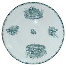 Large Antique French Plate. Saint Amand et Hamage 1870 Groupe D'Enfants.
