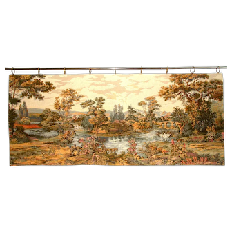 French Tapestry Wall Hanging. Aubusson Style, Country Scene with swans.