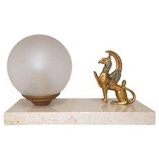 French Mood Lamp. Marble based Desk Light. Spelter Griffon Lamp on Marble Base. Griffin lamp, Gryphon Lamp, Lion, Eagle Lamp