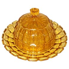 French glass Butter Dome, butter dish, Cheese dome, Cheese dish. Amber glass butter, cheese Dish.