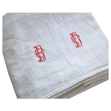 Large Antique French Chanvre Linen Dowry Sheet - Red Tag Sale Item