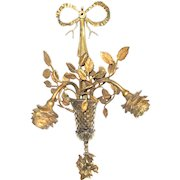 Elegant French Wall Light Sconce. Gilded Bronze Roses and Leaves With Lovely Bow & Basket. Ormolu Wall Sconce.