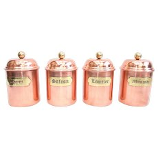 4 French Copper Kitchen Storage Canisters with Domed Lids