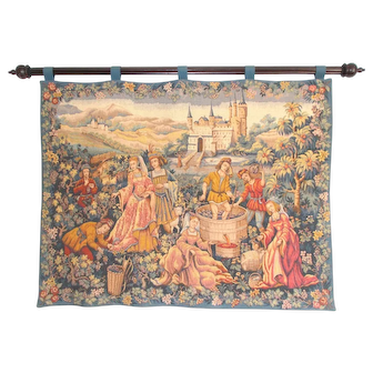 French Tapestry Wall Hanging, Beautiful Colours,  Harvesting Grapes, Le Chant de la Vigne by Marc Waymel. Ready to Hang.