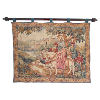 French Tapestry Wall Hanging, Beautiful Colours, Elegant Horses,  La Chasse Royale by Marc Waymel. Ready to Hang.
