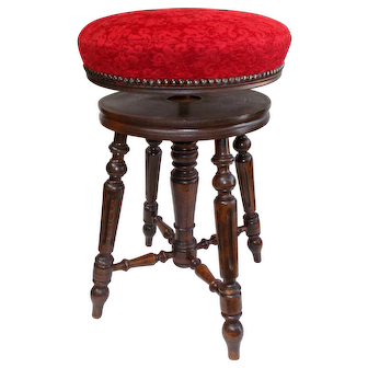 Antique French Piano Stool. Rise and Fall adjustable Seat in Good Condition