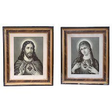 Sacred Heart Jesus Christ Lithograph & Sacred Heart Mary. Large Framed Original Lithograph Antique French print in wooden frame. 1800's