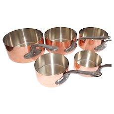 5 Copper Saucepans, Set of 5 Tin Lined Copper Saucepans, Made in France by Les Metaux Cuivres Art & Cuisine Quality Pans,