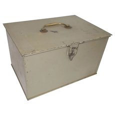 Vintage French Metal Strong Box. Coffre Fort. Two removable trays, Brass Handle. Mid century