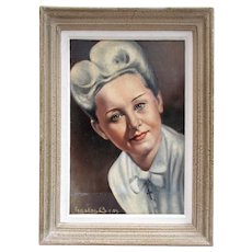 Frame Oil Painting 1940's lady. Signed