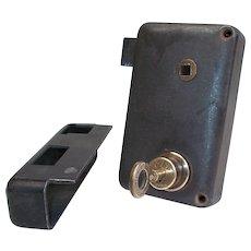 French Hotel Room Security Lock & Unusual key. Fontaine Progress PARIS. Rim Lock, Deadlock and night latch. Rare French Door Lock