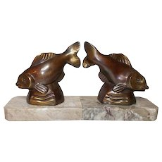Fish Bookends.  Art Deco Bronzed Spelter Fish Bookends.