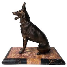 Alsatian Dog.   French Sculpture.  Spelter Ornament on Marble Base  c. 1910.