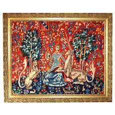 Framed Needlepoint Tapestry.  Lady and the Unicorn.  Vintage French Hand Sewn Picture.  Margot de Paris c. 1970's