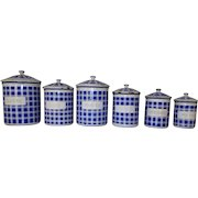 Set of 6 Blue & White Plaid. Vintage French Enamel Kitchen Canisters.  French Farmhouse Storage Pots
