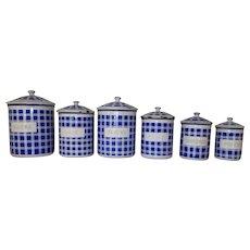 Set of 6 Blue & White Plaid. Vintage French Enamel Kitchen Canisters.  French Farmhouse Storage Pots