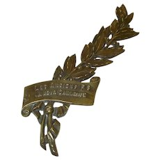 "Military Bronze Memorial Plaque, Bronze Embellishment. Laurel Leaves ""Les Anciens PG A Leur Camarade' Grave Decoration"