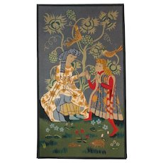 Large Mid Century French Needlepoint Tapestry. Medieval Scene.