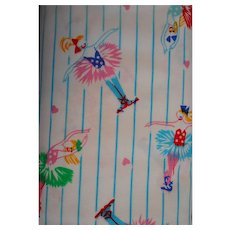Cotton Fabric Colorful Ballerinas on Blue Striped background