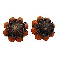 Beige Beads and Black Metal Clip On Earrings