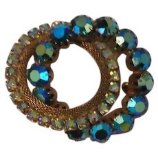 Double Ring Iridescent Rhinestones Pin Vintage Brooch