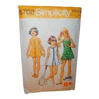 Simplicity 5708 Sewing Pattern Girls Mini Dress Size 12