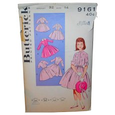 Butterick 9161 Sewing Pattern Girl's Shirt Waist Dress